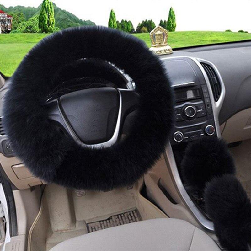 3 шт./компл. плюшевый мягкий теплый автомобильный комплект для рулевого колеса - Название цвета: black