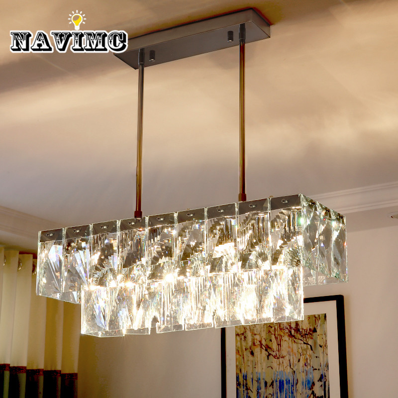 Modern Rectangular Crystal Chandelier Lighting for Dining Room Restaurant Hanging Crystal Pendant Lamp Length 60cm restaurant white chandelier glass crystal lamp chandeliers 6 pcs modern hanging lighting foyer living room bedroom art lighting