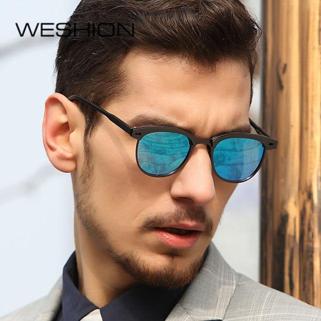 1c2061bac7846 WESHION Mirror Sunglasses Women Men Polarized Cat Eye Brand Designer 2018 Sun  Glasses Ladies Small Eyewear Oculos De Sol Cases