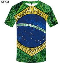 KYKU Brazil T Shirt Men Green Ball T-shirt Hip Hop Tee Anime Clothes Star Printed Tshirt 3d Funny Gothic Mens Clothing Summer