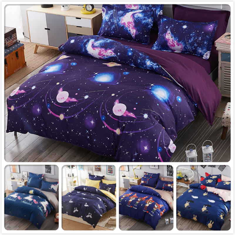 Blue Star Starry Galaxy Kids Bed Linen 3/4 pcs Bedding Set Full King Queen Twin Double Single Size Duvet Cover 1.5m 1.8m 2m 2.2m