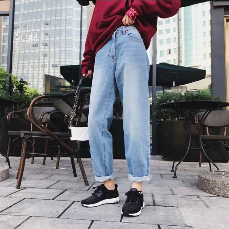 2017 Boyfriend Jeans Harem Pants Women Trousers Casual Plus Size Loose Fit Vintage Denim Pants High Waist Jeans casual loose plus size denim overalls women printing rompers jumpsuit jean boyfriend wide leg jeans harem pants trousers