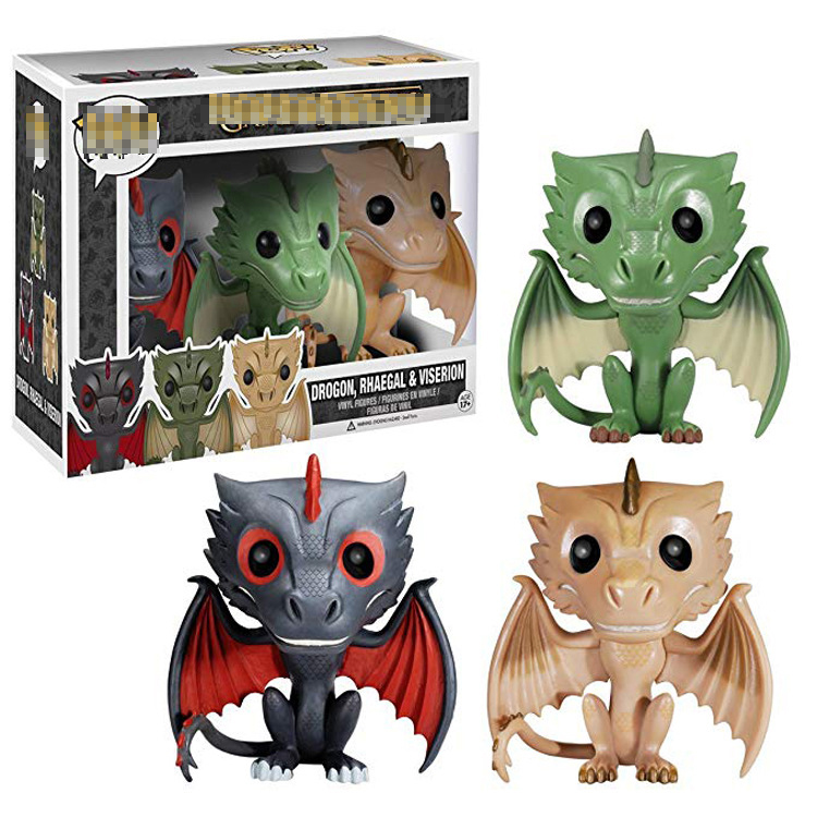 Action Game Of Thrones Funko Figure Toys Drogon Rhaegal & Viserion 3Pcs/set Collectable Dolls Gift Toy Dragons Of Daenerys Model