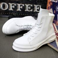 High Top Casual Shoes For Men Patent Leather White Black Color Mens Martin Boots Hip Hop
