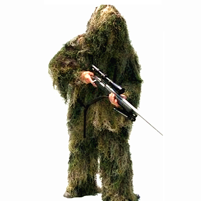 High-Jump Outdoor Sniper Ghillie Suits 3D Bionic Army Airsoft Uniform Sniper Hunting Clothes Ghillie Suits Clothing for Hunting