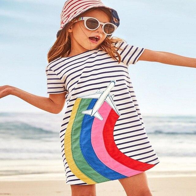 Прыжки метров платье для девочек детская одежда 2018 Брендовое детское летнее платье туника из Джерси Vestidos 100% хлопок детское платье принцессы