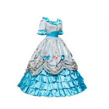 Freeshipping Victorian Southern Belle Civil War Ball Gown Floral Dress Theatre Reenactment Costumes Top Sell Princess Blue Dress hot pink blue angel social outfit fluffy tulle ball gown flower props costum princess etsylush victorian retro easter dress