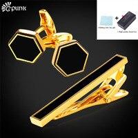 Men Tie Clips Cufflinks Gift Set With Brand Box Enamel High Quality Groomsmen Gifts Black Gold