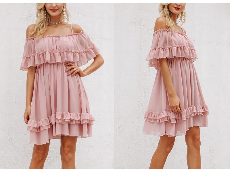 Affogatoo Elegant ruffle off shoulder strap summer pink dress women Casual chiffon pleated blue dress Loose holiday short dress 5