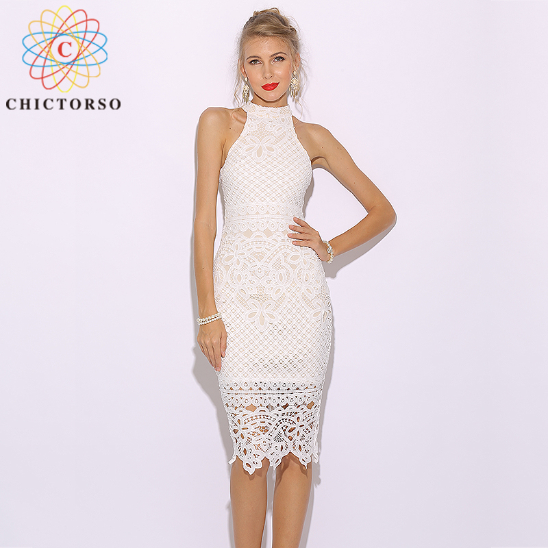 f776a4b1645 Chictorso Sexy Lace Dress Women Sleeveless Summer Dress White Club Party Dress  Midi Elegant Bodycon Pencil