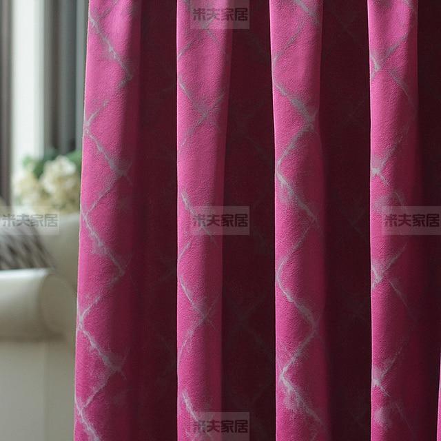 de color morado oscuro gris rojo enrejado de diamante jacquard persianas cortina del dormitorio del estilo - Cortinas Moradas