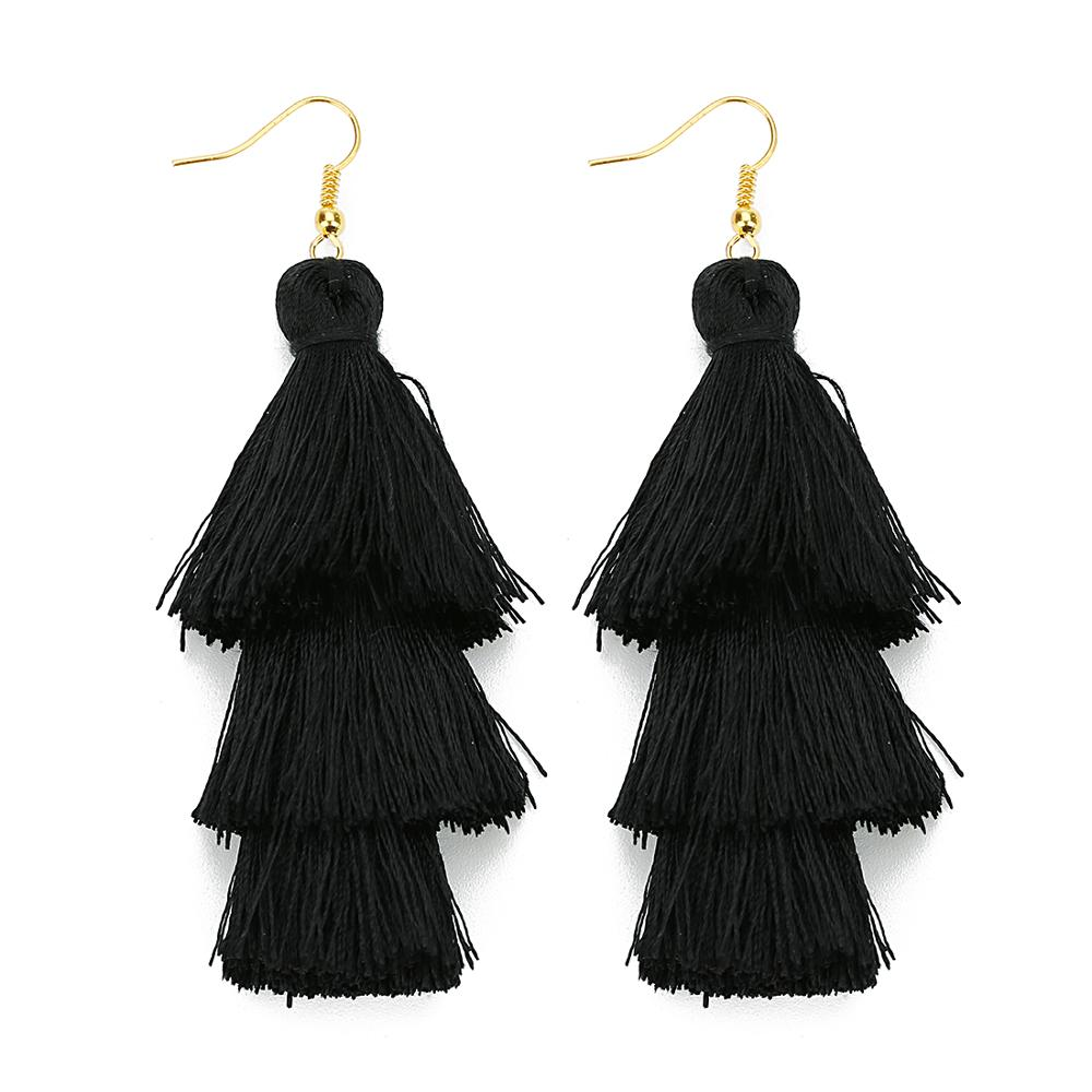 3 Layered Bohemian Fringed Luxury Statement Tassel Earrings Boho Indian Jewelry boho earrings valentine earrings Drop Earrings 5