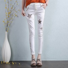 Women Fashion Star Print Skinny Ankle Length Jeans Woman Casual White Hole Pencil Pants Trousers Plus Size L684
