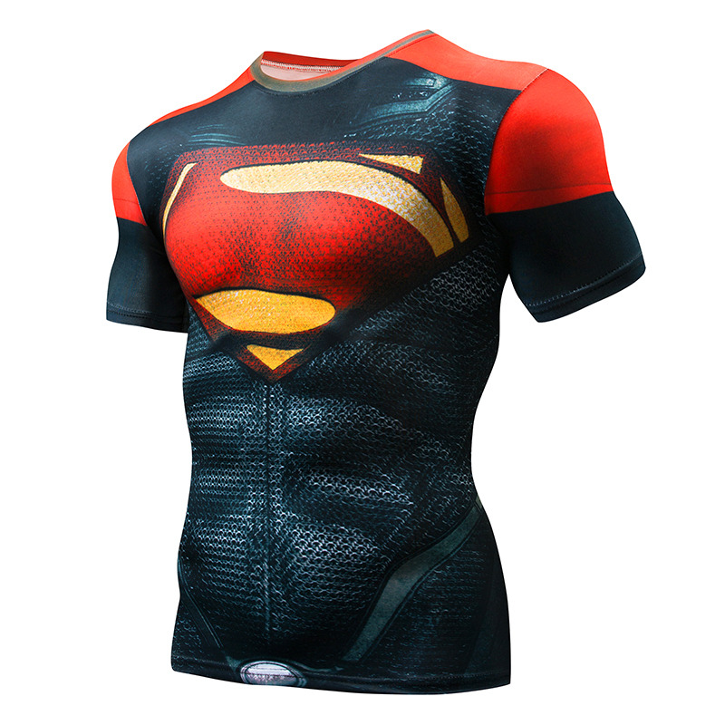 2018 Marvel Superman Captain America Super Hero compression 3D Printed   T  -  shirts   Men fitness Clothing   T     shirt   large size 4XL tops