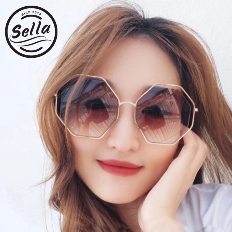 Sella 2018 New Arrival Fashion Women Octagon Gradient Tint Lens Sunglasses Brand Designer Trending Eyewear With Chains Sun Glass
