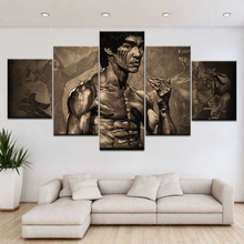 Modern Canvas HD Printed Painting Pictures Home Decor 5 Panel Kung Fu Superstar Bruce Lee Poster Frame For Living Room Wall Art wall hanging bruce lee kung fu dragon tapestry