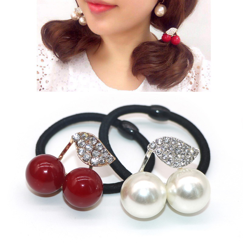 5Pcs Simulated Pearl Crystal Leaf Cherry Elastics For Hair Ties Rubber Band Girls Headband Hair Accessories For Women Red White
