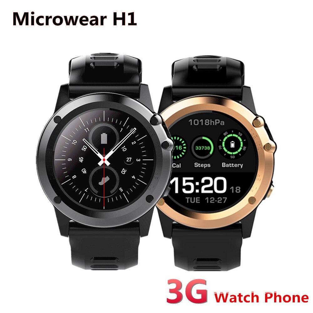 Microwear H1 3g Смарт часы телефон Android Wear MTK6572 двухъядерный с GPS 4 Гб Встроенная память IP68 Водонепроницаемый Смарт часы с камерой 2017 для Для мужчин