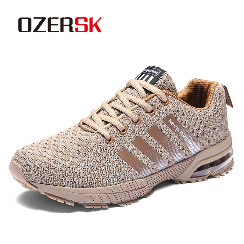 Ozersk alta qualidade moda sapatos casuais unisex respirável malha de ar tênis sapatos caminhada dos homens apartamentos calçados ao ar livre