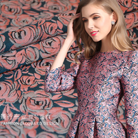 145cm wide high grade yarn dyed jacquard fashion fabric pink rose dress small suit cloth 256g/m
