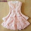 Anlencool frete grátis brand new roupas meninas das crianças coreano saia de renda de três-pedaço do bebê princess dress girls dress conjunto