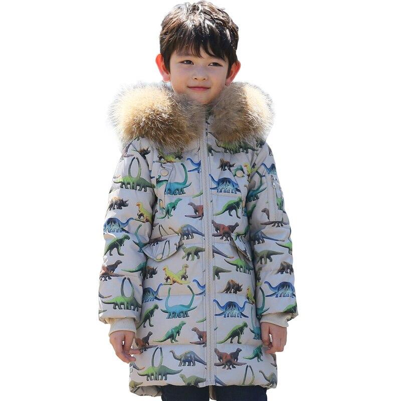Garçons doudoune nouveau canard blanc vers le bas de la mode dinosaure imprimé enfants vers le bas manteau enfants Parkas à capuche garçon vêtements - 3