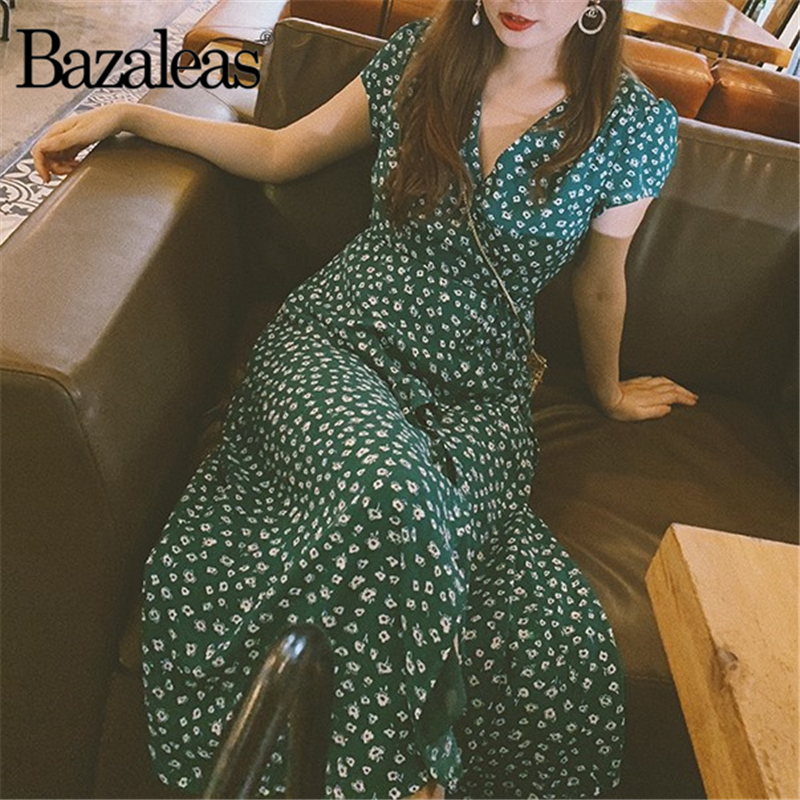 Bazaleas Vintage Button And Tie Front Dresses Green Wrap Front Midi Dress Floral Print Short Sleeve Split Summer Dress Vestido