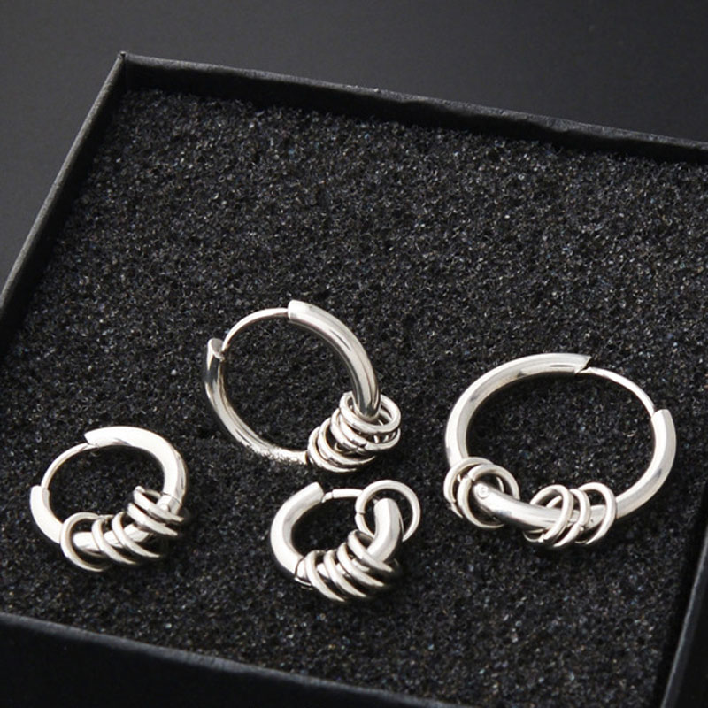 da7233a7a 2 pieces Gold Silver Stainless Steel Round Hoop Earrings Circle Ear Cute  Jewelry