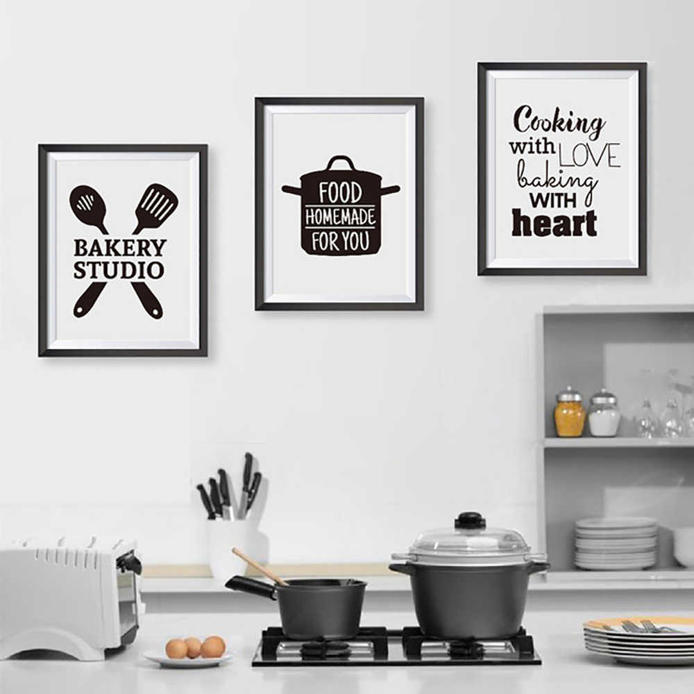 Nordic Style Painting Canvas Print Posters Cooking With Love Kitchen Quote Baking With Heart Pictures Art Wall Home Decoration