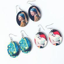 1 Pair Creative Vintage Oil Painting Earrings Minimalism Cartoon Design Female Ear Hooks Danglers Jewelry Gift