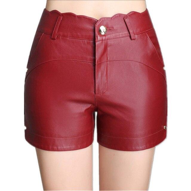 De cuero de 2017 mujeres del otoño Pantalones cortos moda sexy Pantalones  cortos nuevo negro Rojo 5752db65e526