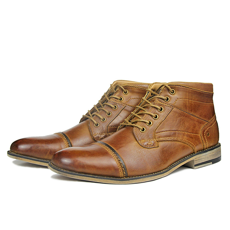 plus size mens casual breathable ankle boots outdoor point toe boot cow leather shoes lace up