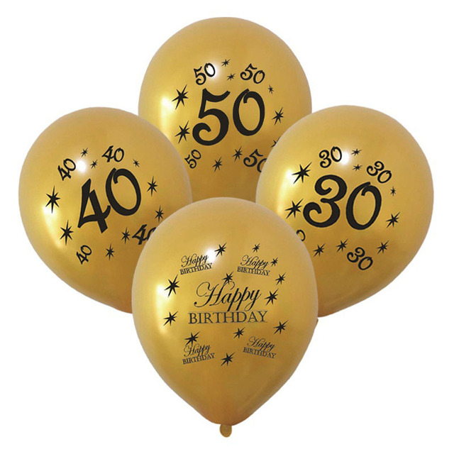 10Pcs 30th 40th 50th Women Mens Happy Birthday Balloons Party