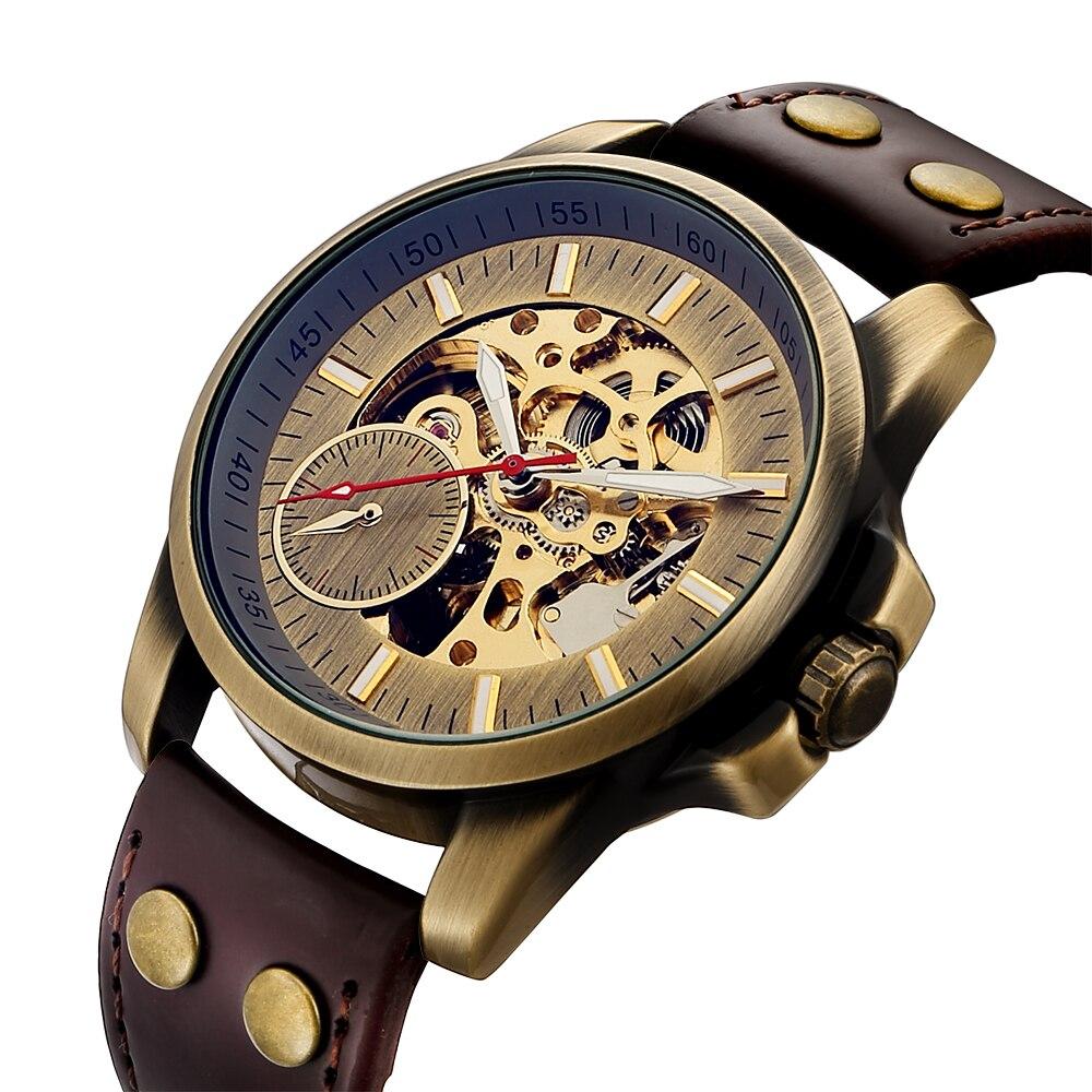 Men Mechanical Watch Automatic Watch Skeleton Self Winding Men Watches Bronze Leather Steampunk Transparent Wristwatch Clock Men 1