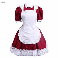 A line/ Ball Gown Cosplay Costume Dress Ainclu Short Sleeves Cotton Dark Red With White Apron Cosplay Lolita Dress