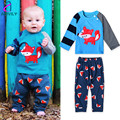 Children Cartoon Small Fox Pattern Baby Boys Girls Long Sleeve Stitching Color Suit Shirt+Pants 2pcs Kids Clothes Pullover Sets