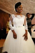 Plus Size 2016 Sexy New Lace Long Sleeves Wedding Dresses Ball Gown High Neck Tulle Appliques Beaded Wedding Bridal Gowns A71