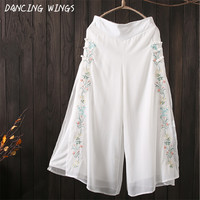 Summer Ethnic Style Flowers Embroidery Wide Leg Pants Women Loose Double layer Chiffon Culottes Casual Trousers