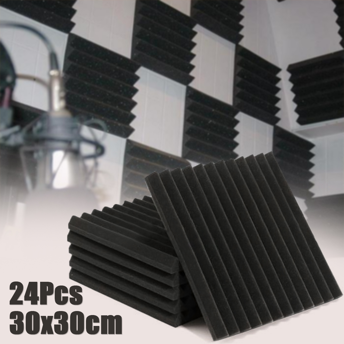 24 pcs 30x30 cm Insonorisation Mousse Acoustique Traitement Mousse D'insonorisation Studio D'absorption Cale Carreaux de Mousse de Polyuréthane