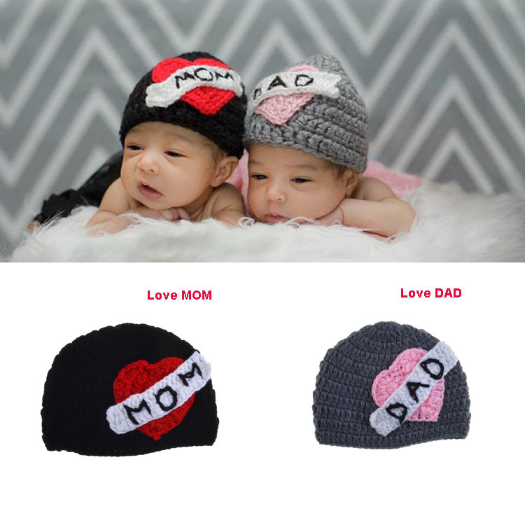 Crochet Baby Hat Beanie for Photography Props LOVE MOM LOVE DAD Crochet Beanie for Twins Knitted Baby Twins Hat 1pc MZS-15052