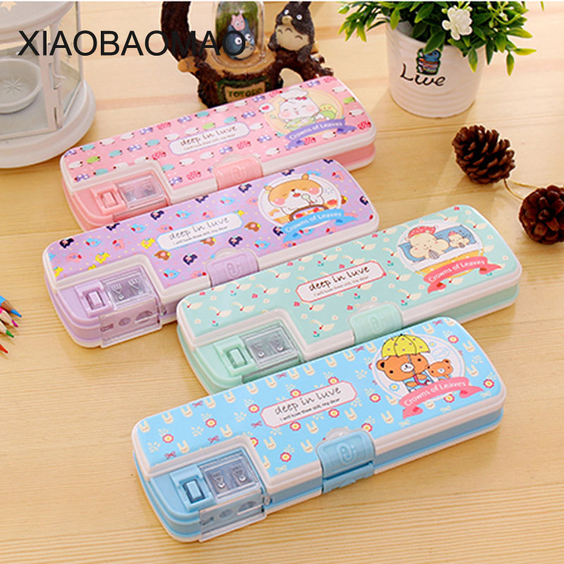 Creative multifunctional pencil box with Pencil Sharpener pencil cases for girls Korean Fashion Cartoo Pencil Case for sch комплект полутораспальный amore mio victoria