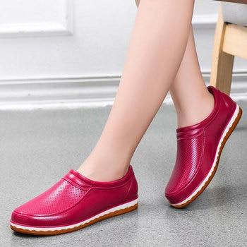 Men's Rain Boots Ladies Short Rain Buttons Resistant PVC Ankle Rain Boots Shoes Women Waterproof Shoes