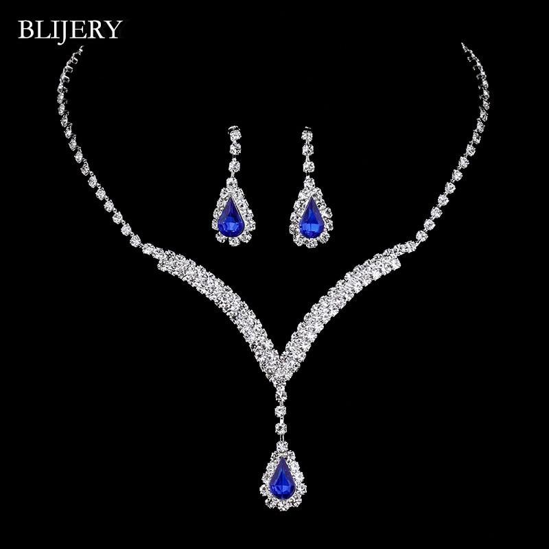 BLIJERY Choker Necklace Earrings Bridal-Jewelry-Sets Crystal Royal-Blue Women Teardrop