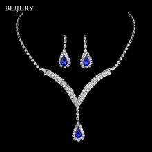BLIJERY Royal Blue Pha Lê Bridal Jewelry Sets V Shaped Teardrop Choker Necklace Earrings Cưới Trang Sức Sets đối với Phụ N(China)