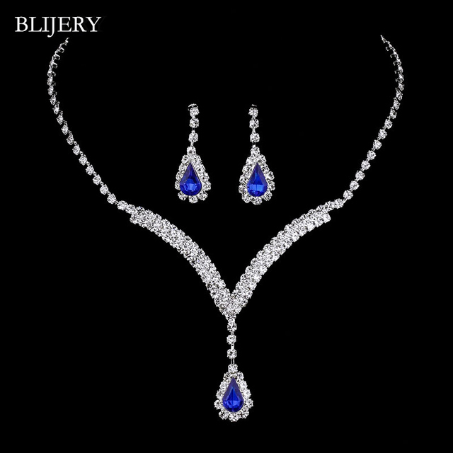 BLIJERY Royal Blue Pha Lê Bridal Jewelry Sets V Shaped Teardrop Choker Necklace Earrings Cưới Trang Sức Sets đối với Phụ Nữ