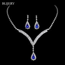 BLIJERY Royal Blue kryształowe zestawy biżuterii ślubnej w kształcie litery V Teardrop Choker naszyjnik kolczyki zestawy biżuterii ślubnej dla kobiet tanie tanio Ze stopu cynku Kobiety Klasyczny Necklace+Earrings Zestawy biżuterii dla nowożeńców Moda 69J02 Ślub Kropla wody Rhinestones