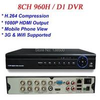 Free Shipping ALL D1 Recording H 264 1080P Full HD 8CH HDMI VGA Video Output 8CH
