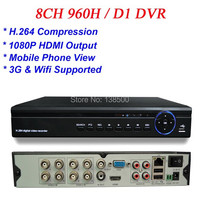 Free Shipping ALL D1 Recording H 264 1080P Full HD 8CH HDMI VGA Video Output 8CH