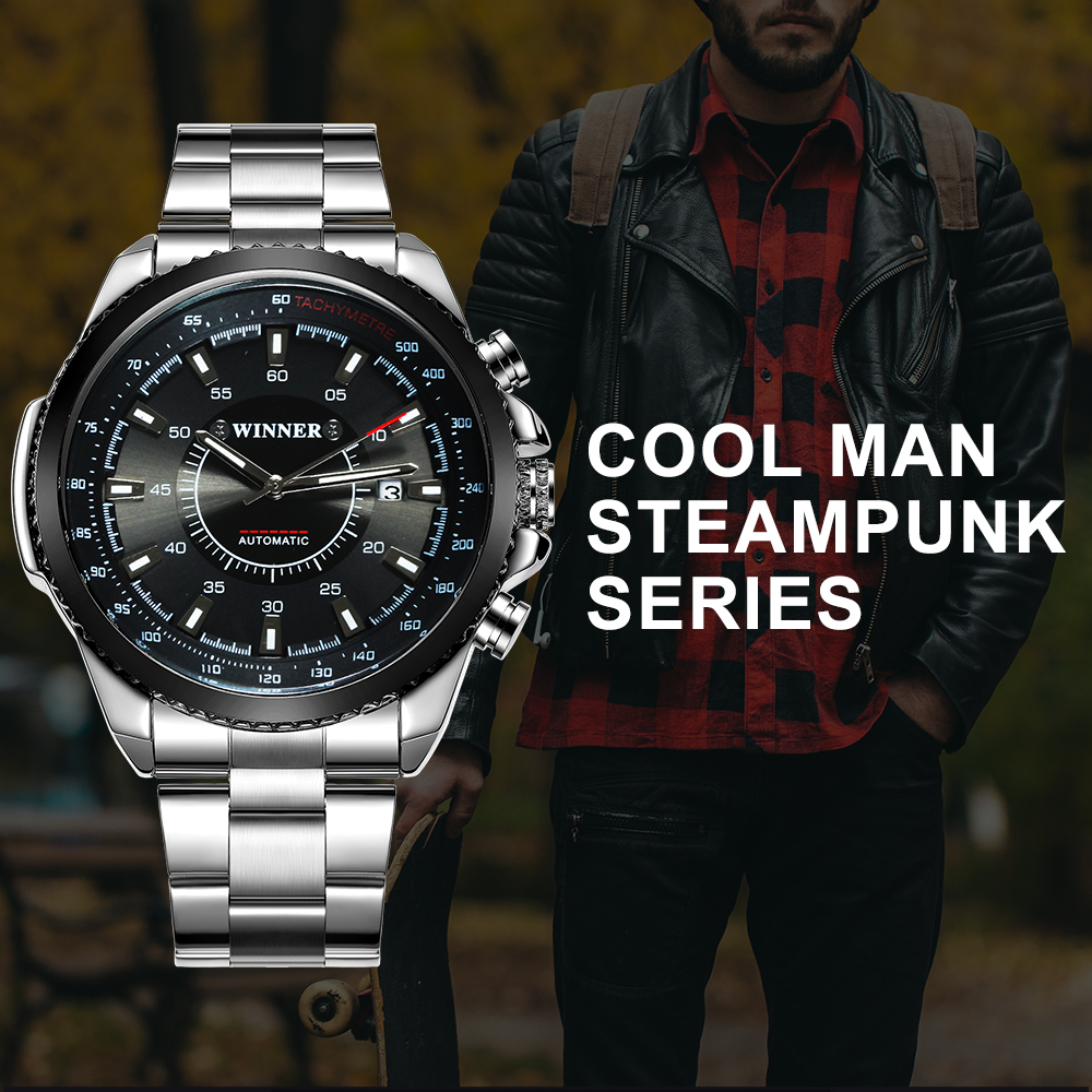 WINNER Fashion Business Auto Mechanical Watch Men Stainless Steel Strap Calendar Black Dial Top Brand Luxury Mens Watches ice age prehistoric animal a mammoth in a walk collection children toys a mammoth in a walk