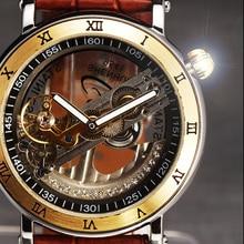 Роскошный Горный Хрусталь Скелет Часы Мужские Автоматические Самостоятельно ветер Мужчины Часы Мода Повседневная Часы Кожаный Ремешок Relogio Masculino